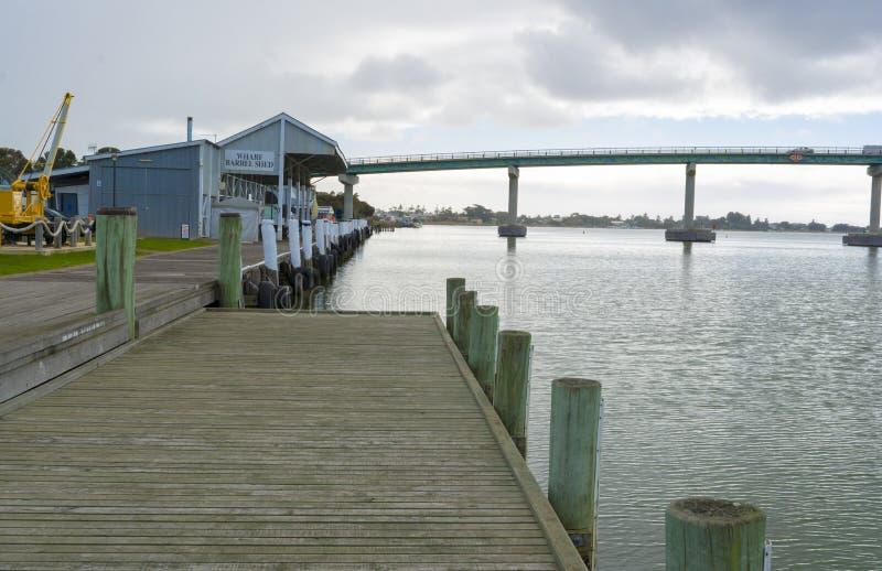 Pont et quai chez Goolwa, île de Hindmarsh, Australie du sud image stock