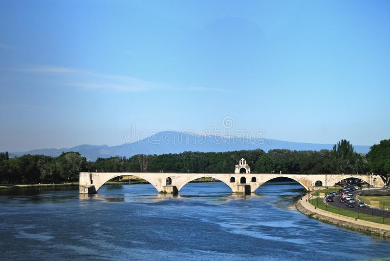 Pont France le Rhône d'Avignon images libres de droits