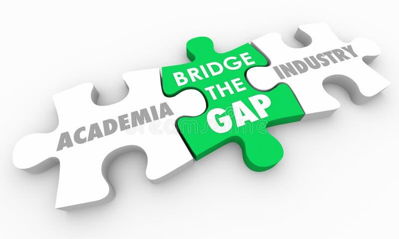 Pont Gap entre le milieu universitaire et le puzzle d'industrie illustration de vecteur