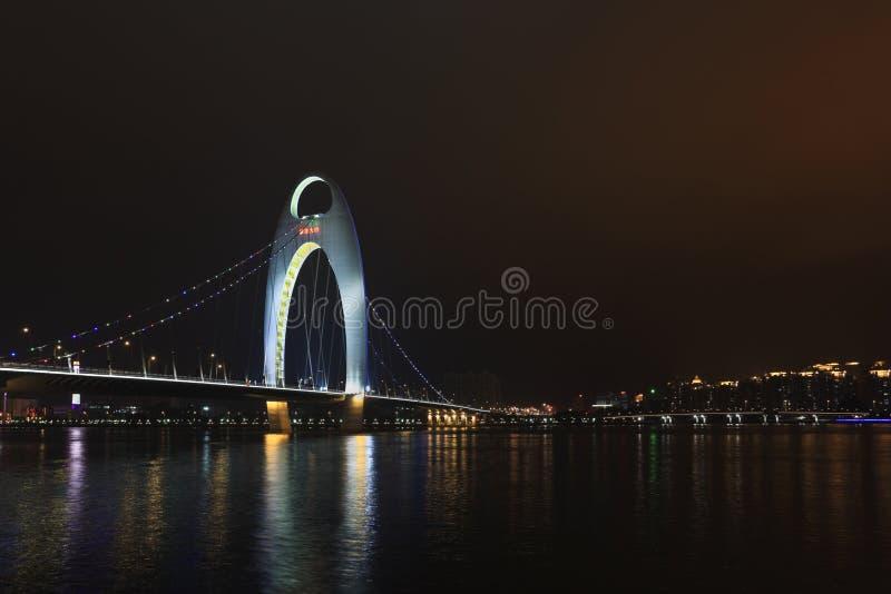 Pont Guangzhou la nuit, Chine de Liede photo libre de droits