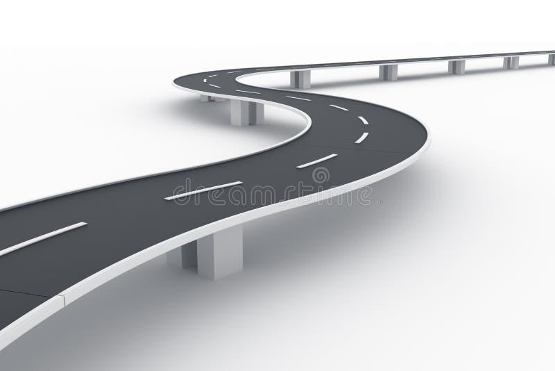 Pont incurvé en route illustration stock