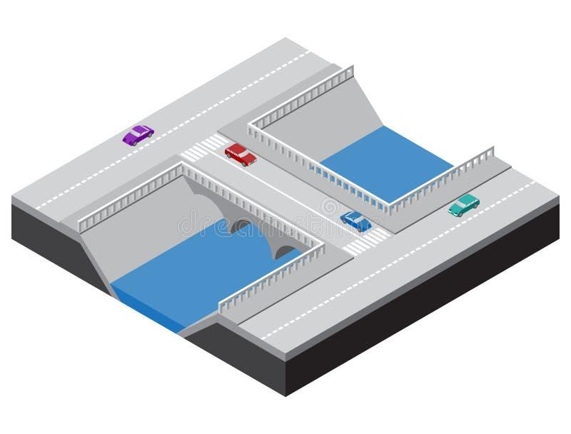 Pont isométrique à travers une rivière avec des routes illustration de vecteur