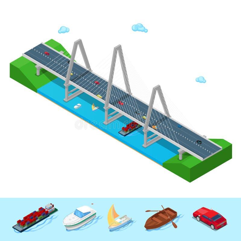 Pont isométrique de rivière avec la route de bateau de bateau illustration libre de droits
