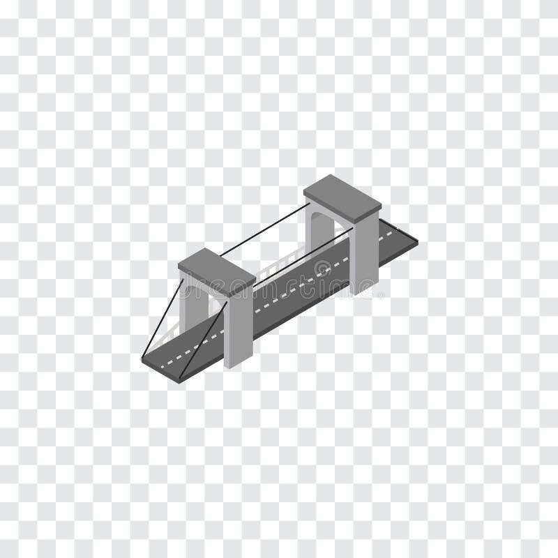 Pont isométrique L'élément de vecteur de route peut être employé pour le pont, suspension, concept de construction de route illustration stock
