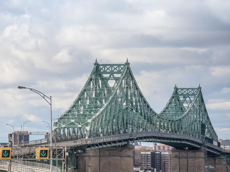 Pont Jacques Cartier bridge taken in Longueuil in the direction of Montreal, in Quebec, Canada stock image