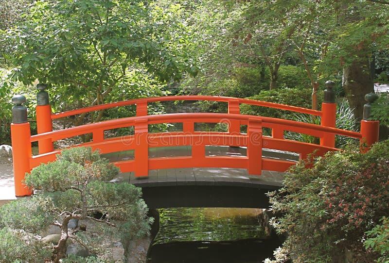 Pont japonais orange lumineux aux jardins de Descanso image stock