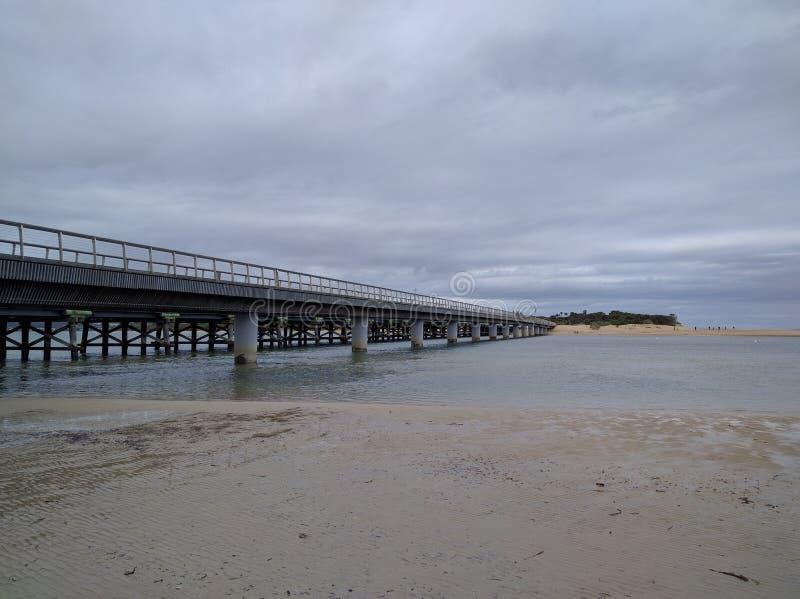 Pont majestueux à la plage photos libres de droits