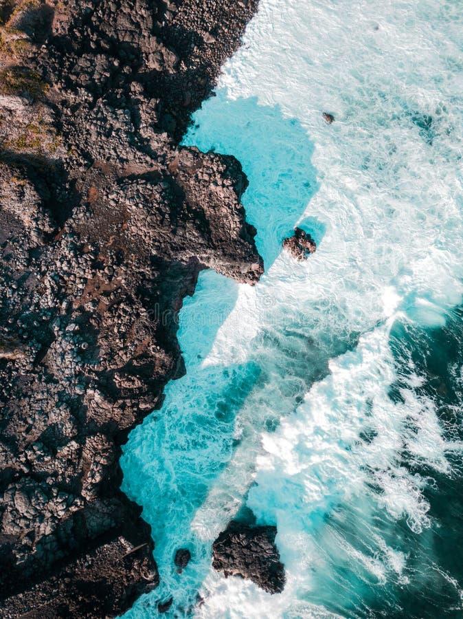 Pont Naturel毛里求斯鸟瞰图  自然石桥梁,南部的海岸线的atraction在毛里求斯 库存图片