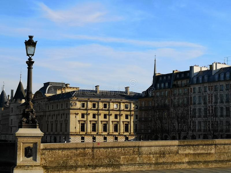 Pont Neuf New Bridge in Paris, France. Buildings architecture stock image