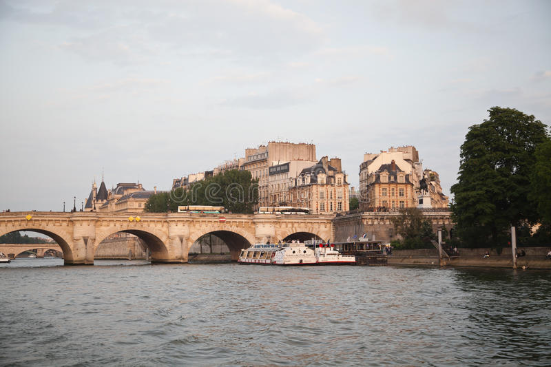 Pont Neuf and the river Seine, Paris stock images