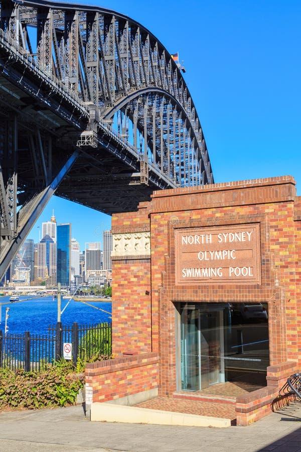Pont olympique de piscine et de port, Sydney du nord, Australie images libres de droits