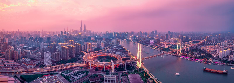 Pont Panorama de Shanghai photos stock