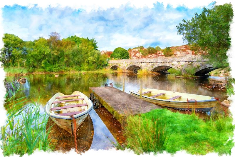 The Pont Pen y Llyn at Llanberis in Wales Painting. Watercolour painting of the bridge over the river Rhythallt as it flows out of Llyn padarn at Brynrefail stock photos