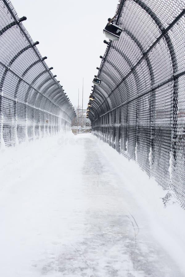 Pont plus de 495 dans une tempête de neige image libre de droits