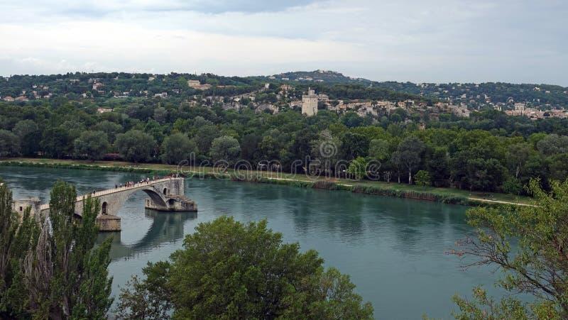 Le Pont de Avignon bridge in the Rhone River , France stock photos