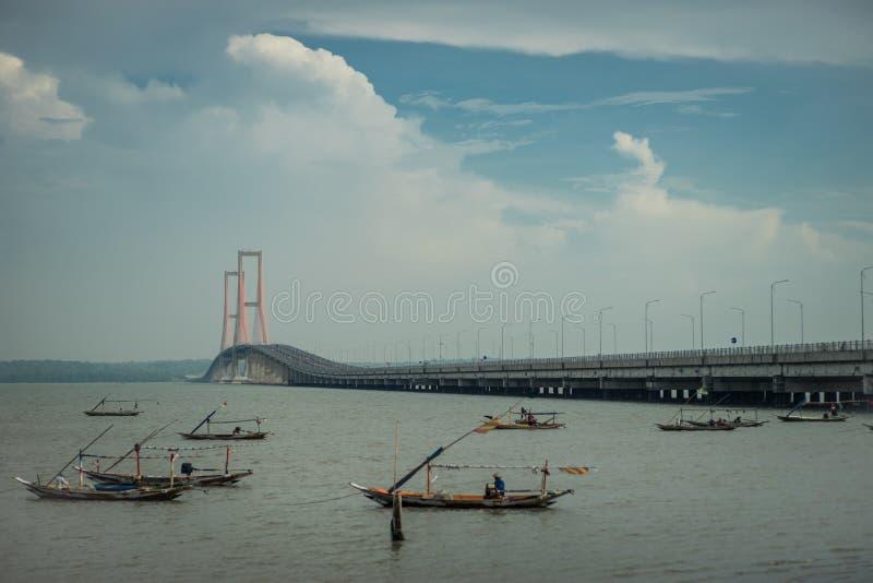 Pont Sorabaya-Madura, Java, Indonésie de Suramadu photo libre de droits