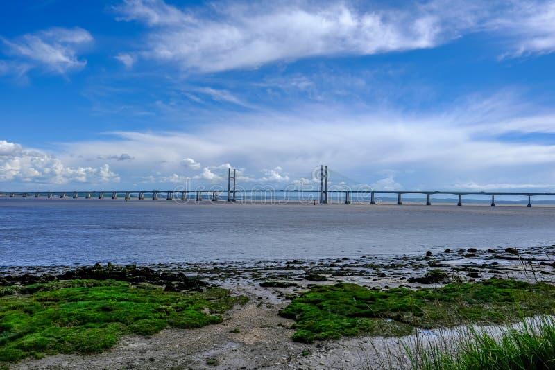 Pont suspendu de Severn, croisement de péage entre l'Angleterre et Wale photos libres de droits