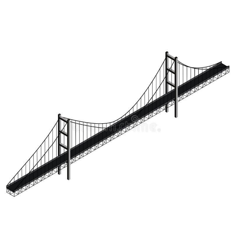 Pont suspendu isométrique illustration de vecteur