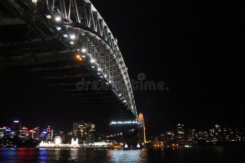 Pont Sydney de port par nuit Nouvelle-Galles du Sud, Australie images libres de droits