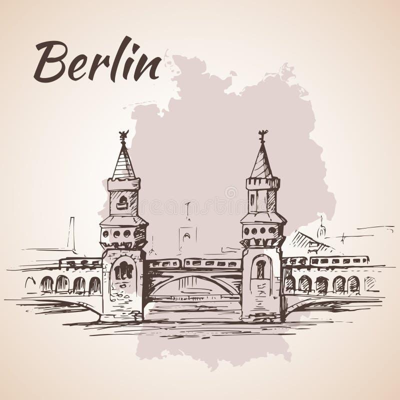 Pont tiré par la main d'Oberbaum - Berlin, Allemagne illustration de vecteur