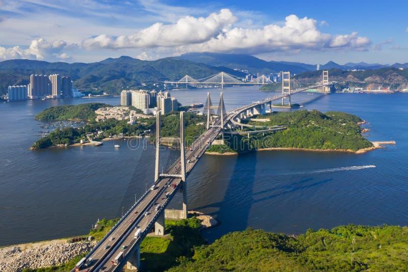 Pont Tsing Ma de Hong Kong images libres de droits
