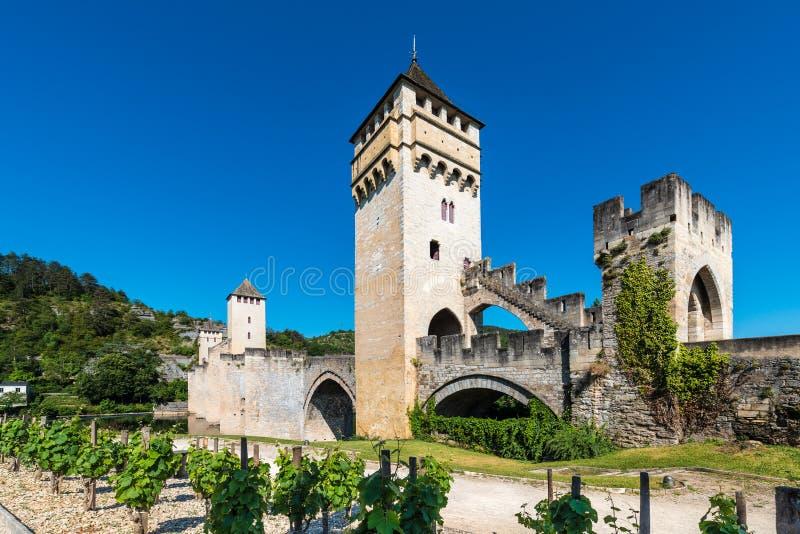 Pont Valentre в Cahors, Франции стоковые фотографии rf