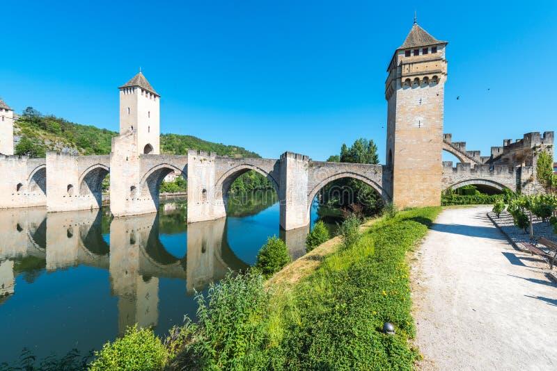Pont Valentre in Cahors, Frankrijk stock afbeelding