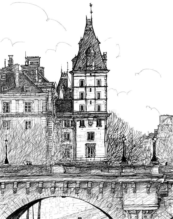 Download Pont w Paryż Neuf ilustracja wektor. Obraz złożonej z historia - 26441367