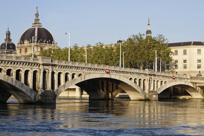 Pont Wilson sur le Rhône à Lyon photos libres de droits