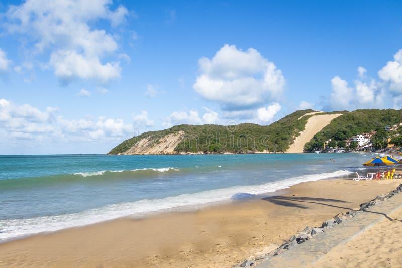 Ponta内格拉海滩和Morro做新生的卡雷卡-,北里约格朗德,巴西 免版税库存图片