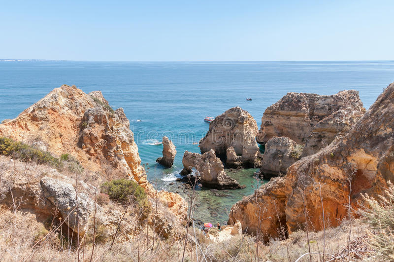 Ponta da Piedade, formazioni rocciose vicino a Lagos nel Portogallo immagini stock libere da diritti