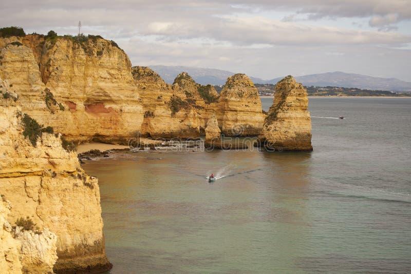 Ponta da Piedade in Lagos, in Portugal. Ponta da Piedade sea cliffs beach in Lagos, in Portugal stock images