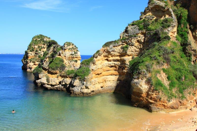 Ponta de Piedade в побережье Лагосе, Алгарве в Португалии стоковое изображение rf