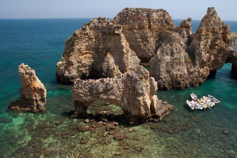 Ponta de Piedade côte à Lagos, Algarve dans Portug images stock