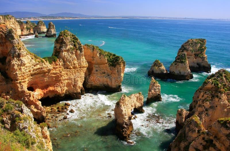 Ponta de Piedade en región de Lagos, Algarve, Portugal fotografía de archivo libre de regalías