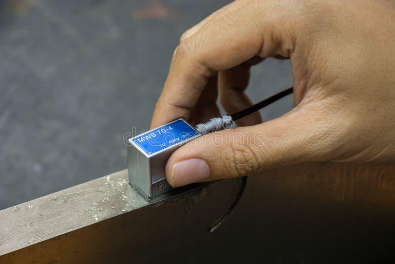 Ponta de prova do ângulo da calibração da varredura ultrassônica com padrão b foto de stock royalty free