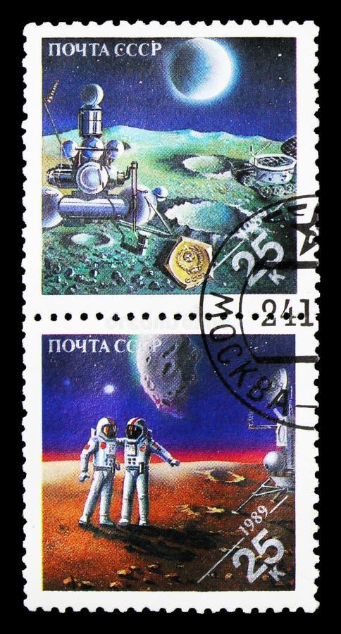 Ponta de prova soviética 2nãa pilotado na lua; Cosmonauta e americano soviéticos fotografia de stock royalty free