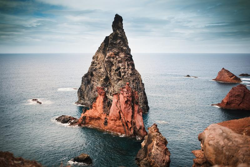 Ponta De Sao Lourenco at Madeira Islands - Portugal, Beautiful destination for travel. View of rocks, beach, cliffs and mountains. stock photo