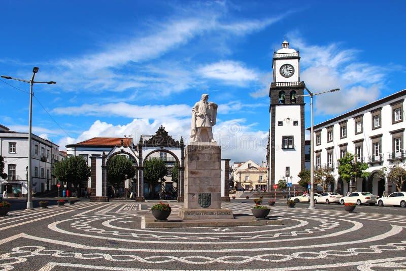 Ponta Delgada,圣地米格尔海岛,亚速尔群岛,葡萄牙大广场  免版税库存图片