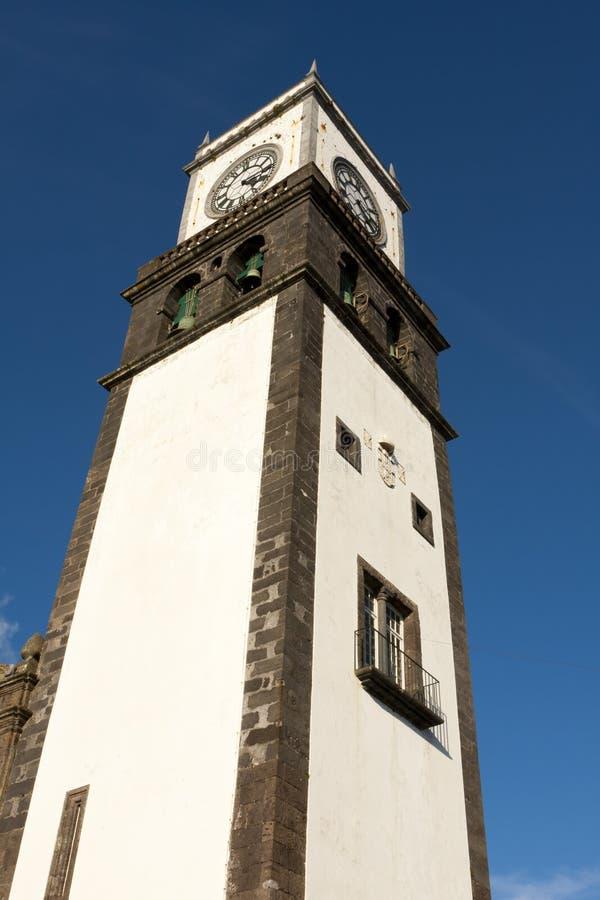 Ponta Delgada Kirche matriz stockbilder