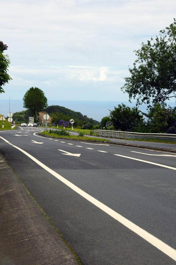 Ponta Delgada, Portugal, June 2019. Asphalt road through the picturesque places of the island of San Miguel. Travel to the Azores stock photos