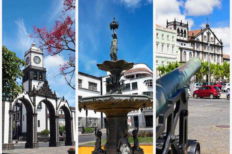 Ponta Delgada, Portugal, June 2019. Beautiful white clouds against the blue sky. The beautiful city of Ponta Delgada. On the island of San Miguel, Azores stock photo