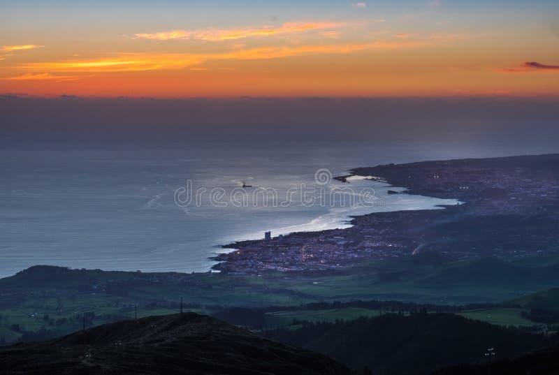 Ponta Delgada at sunset stock photos