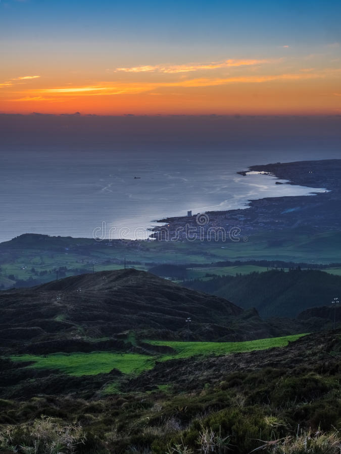 Ponta Delgada at sunset stock images