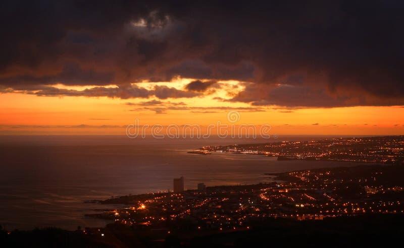 Ponta Delgada during sunset Sao Miguel, Azores, Portugal stock photos