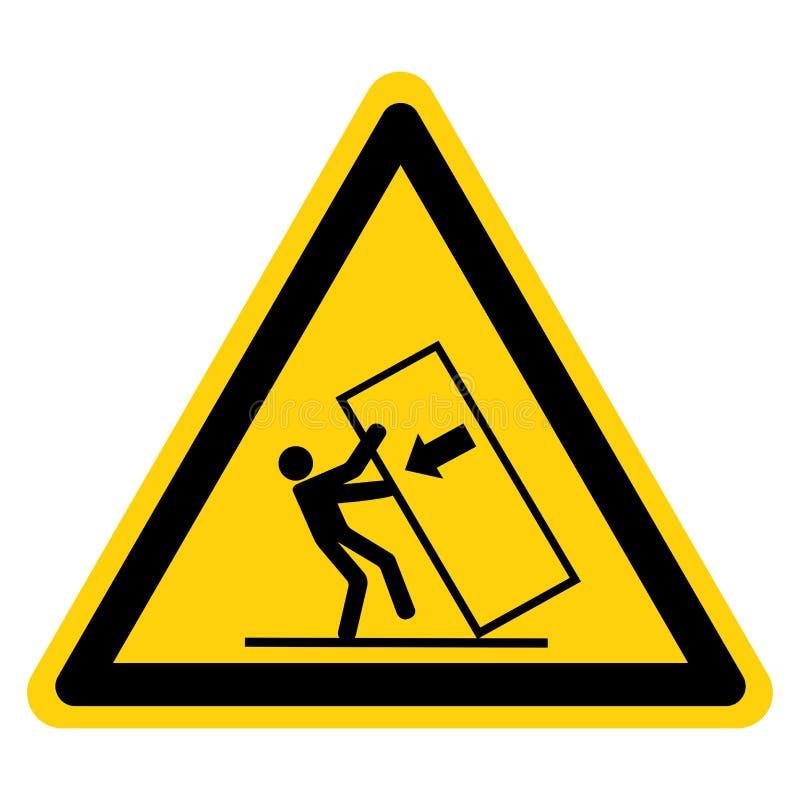 Ponta do esmagamento do corpo sobre o isolado do sinal do símbolo do perigo no fundo branco, ilustração do vetor ilustração royalty free