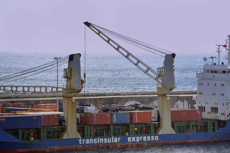 Ponta do Sol being loaded with cars royalty free stock photography