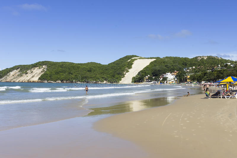 Ponta Negra beach and `Morro do Careca` - Natal, RN, Brazil. The Morro do Careca lit. `Bald Hill` is a large dune located in the city of Natal in Brazil. It is stock photo