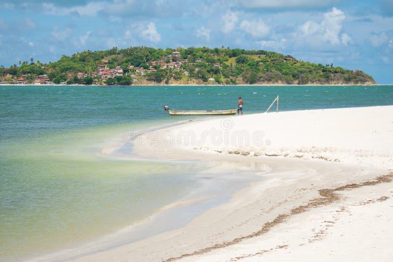 Pontal da Ilha海滩看法,在Itamaraca海岛北部一角  库存图片
