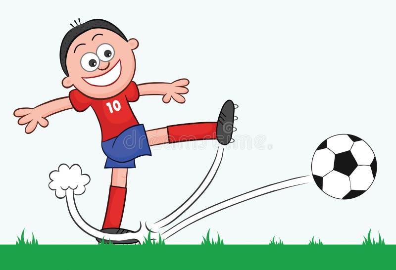 Pontapé do jogador de futebol dos desenhos animados ilustração do vetor